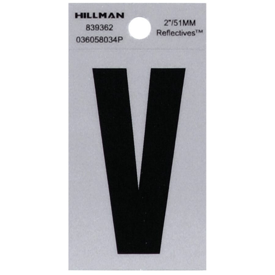 The Hillman Group 2-in Reflective Black House Letter V