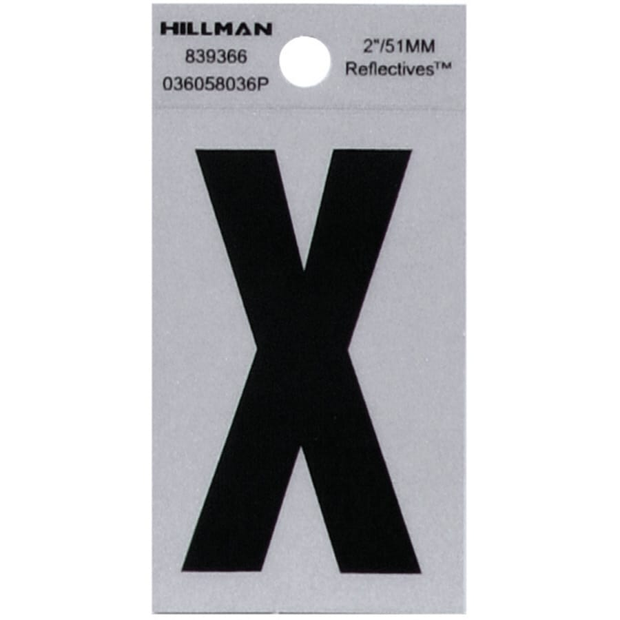 The Hillman Group 2-in Reflective Black House Letter X