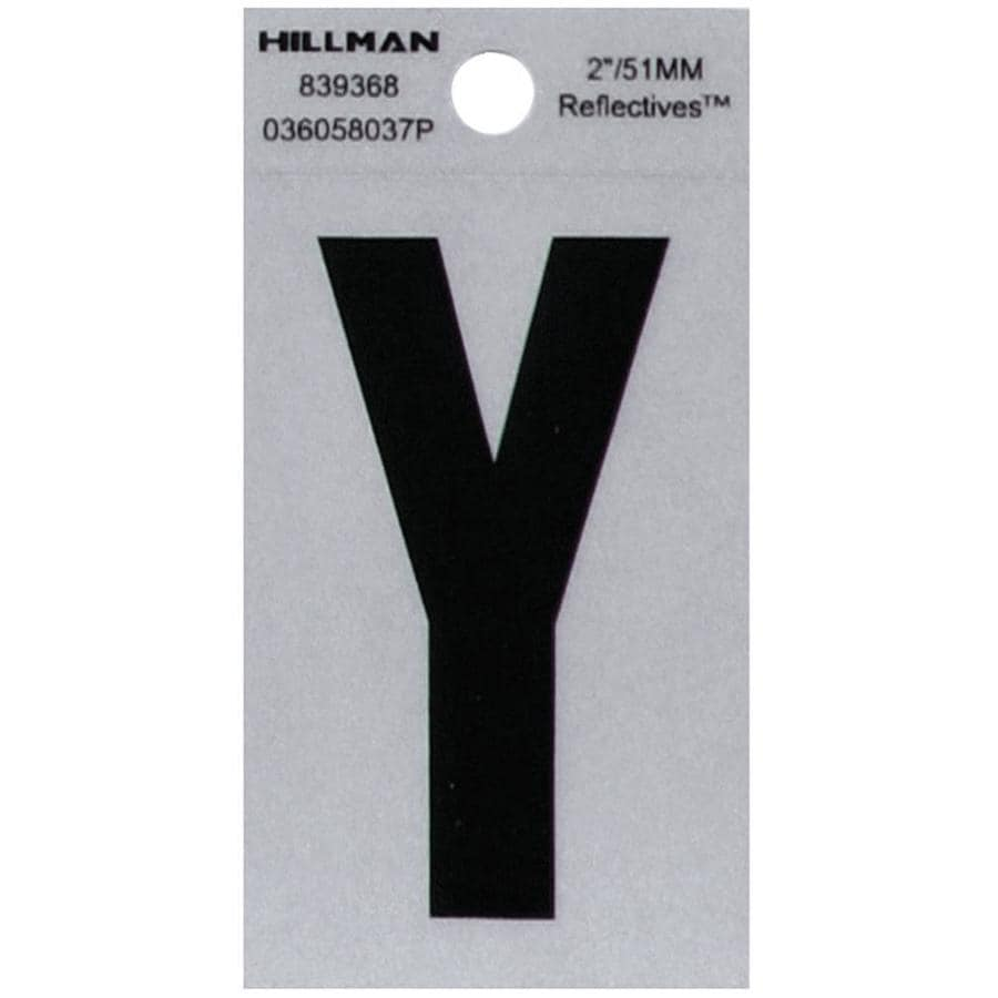 Hillman 2.1-in Reflective Black House Letter Y