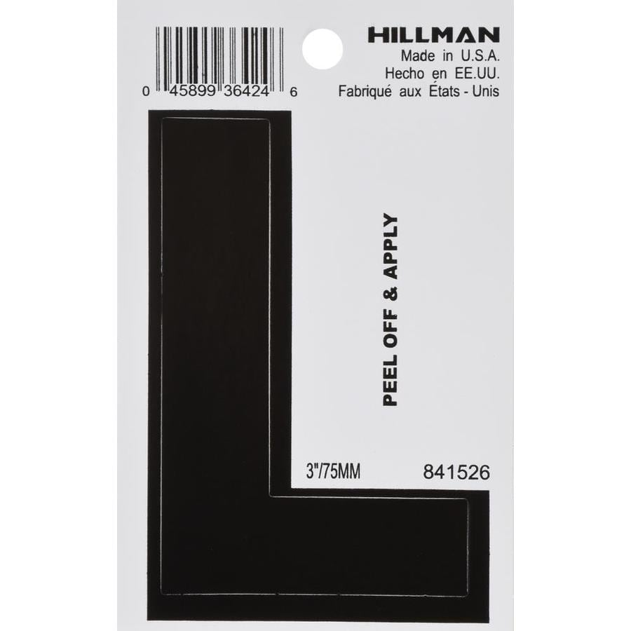 The Hillman Group 3-in Black House Letter L