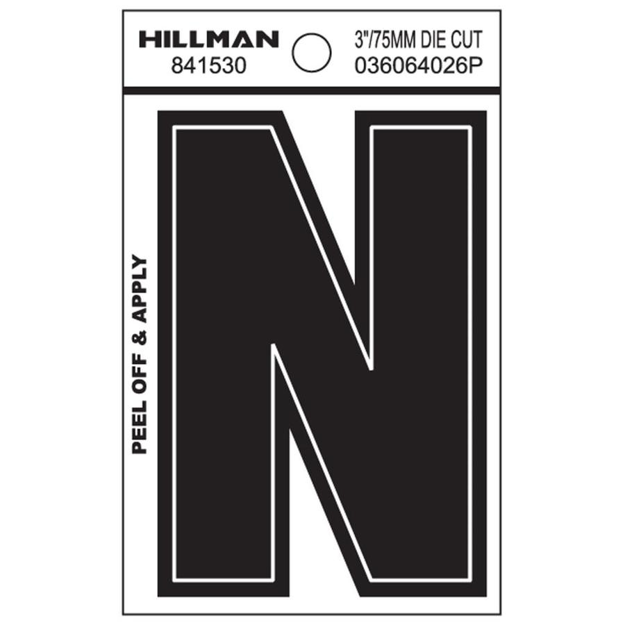 Hillman 3 In Black White Letter N At Lowes Com