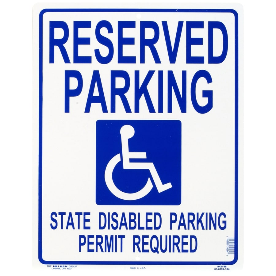 Hillman Sign Center 19-in x 15-in Handicapped Parking Sign