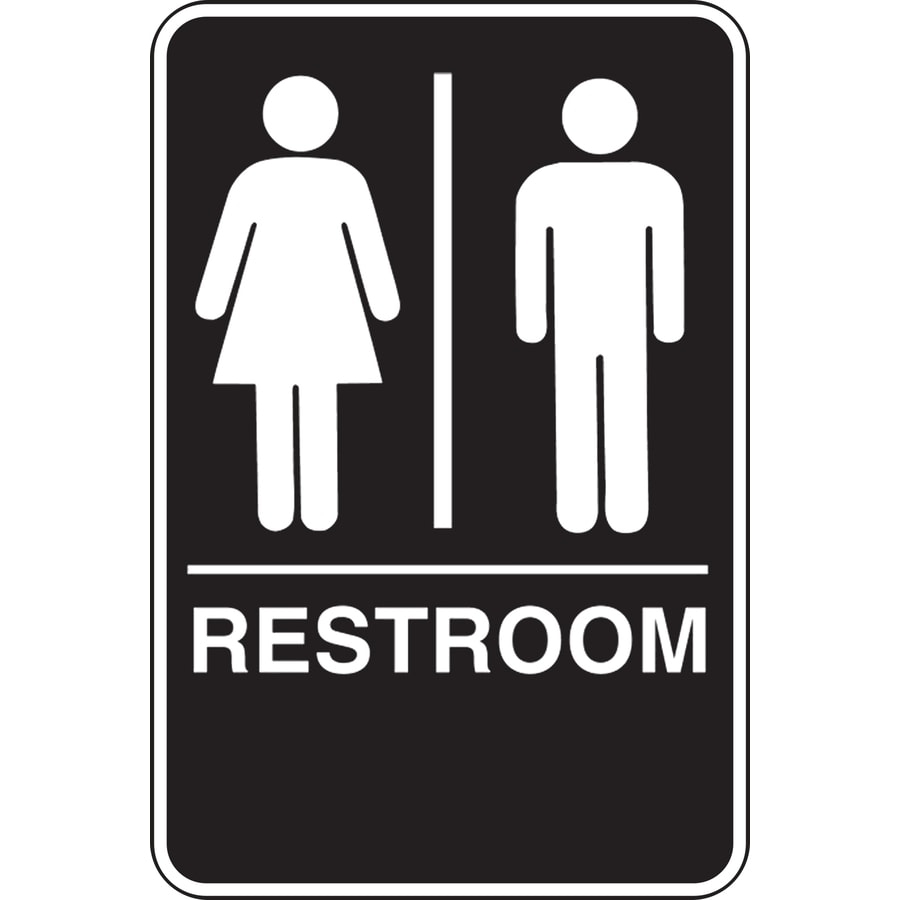 bathroom sign with arrow. Hillman 9-in X 6-in Unisex Restroom Sign Bathroom With Arrow O