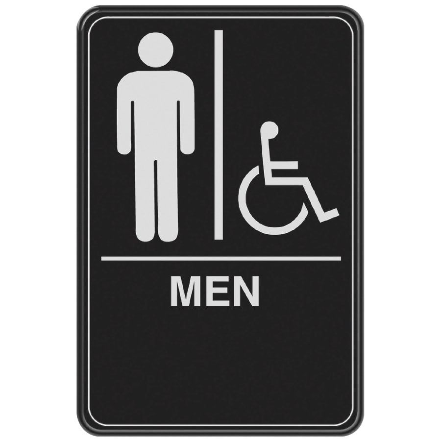 Bathroom Sign Images shop hillman 6-in x 9-in men handicap accessible restroom sign at