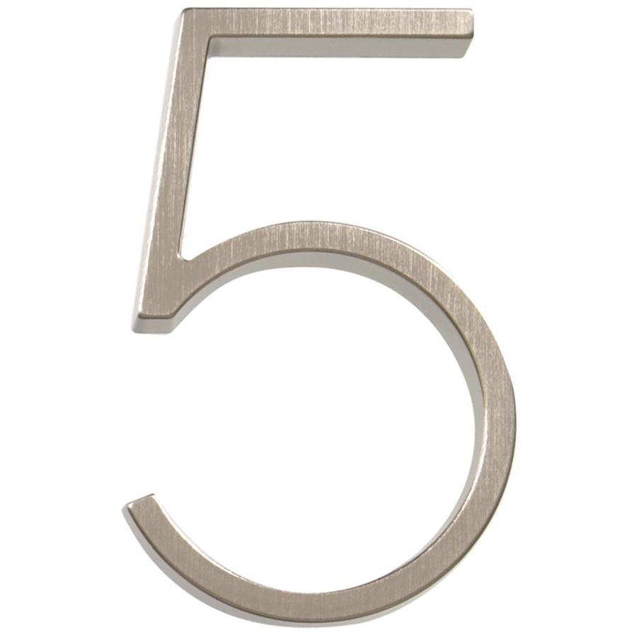 Hillman 2.9-in Satin Nickel House Number Number 5