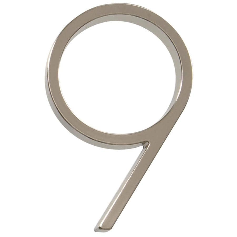 Hillman 2.4-in Satin Nickel House Number Number 9