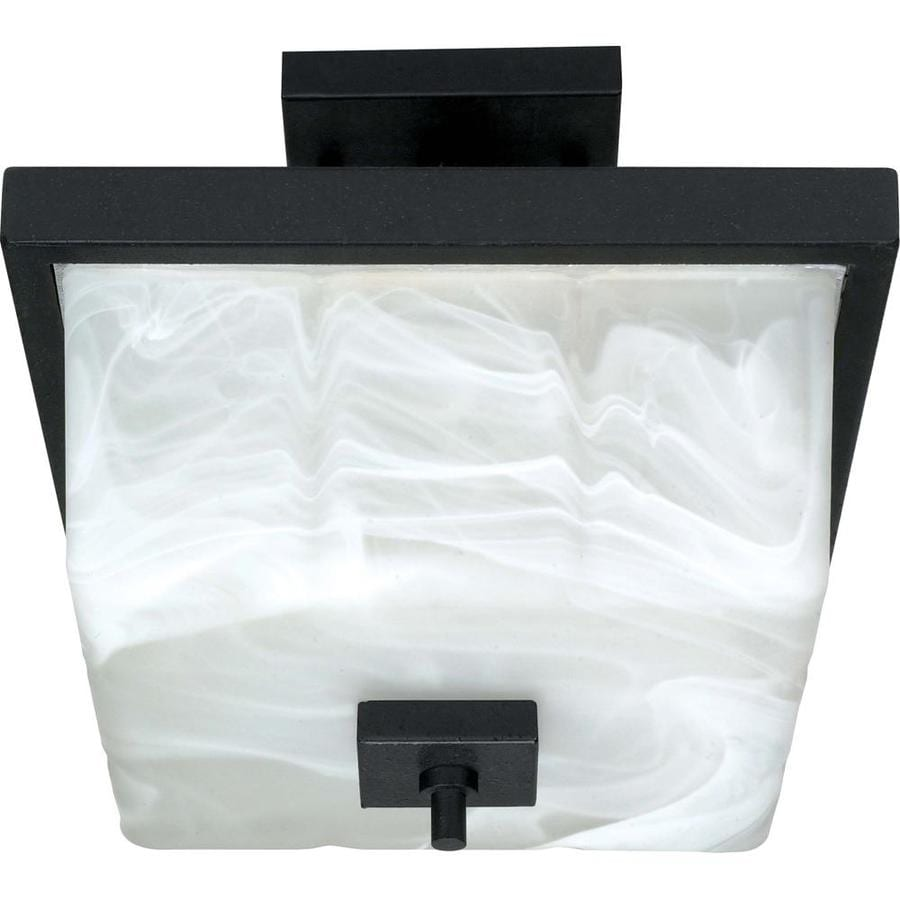 Divina 12-in W Textured black Alabaster Glass Semi-Flush Mount Light