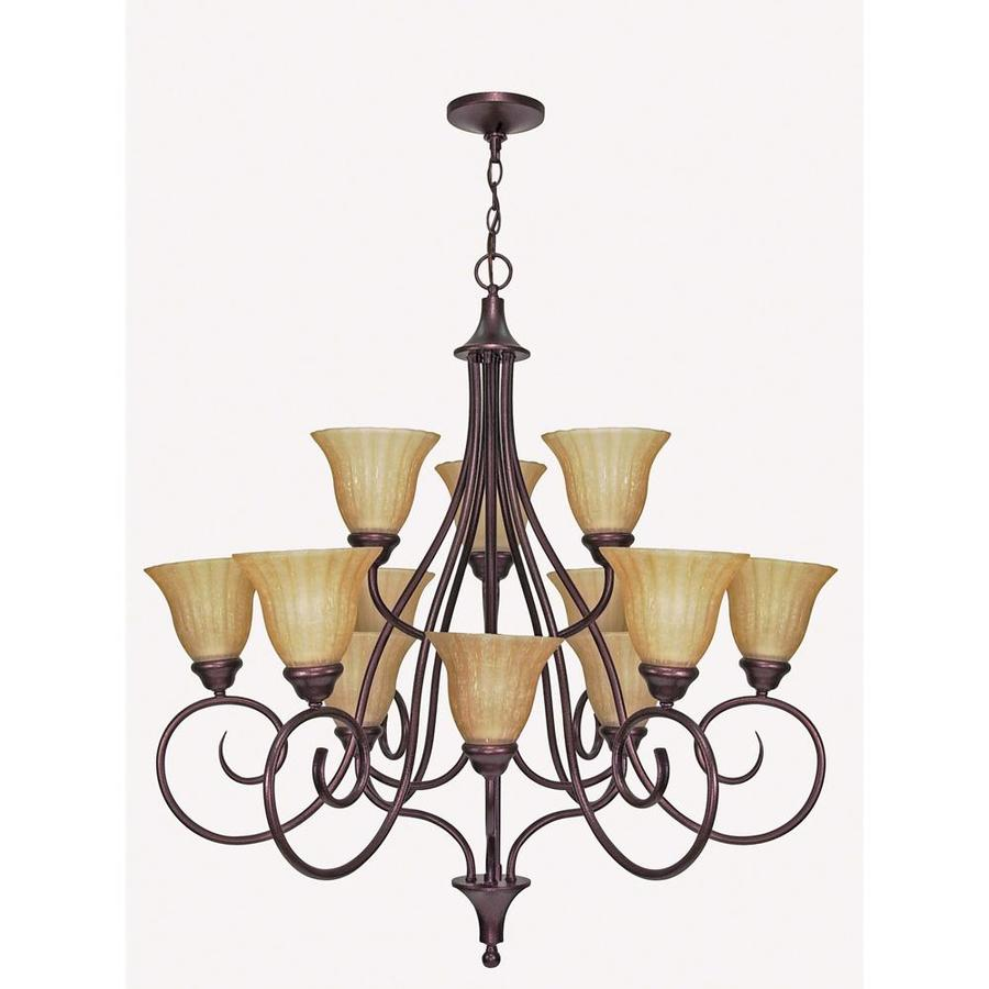 Moulan 36-in 12-Light Copper Bronze Tiered Chandelier