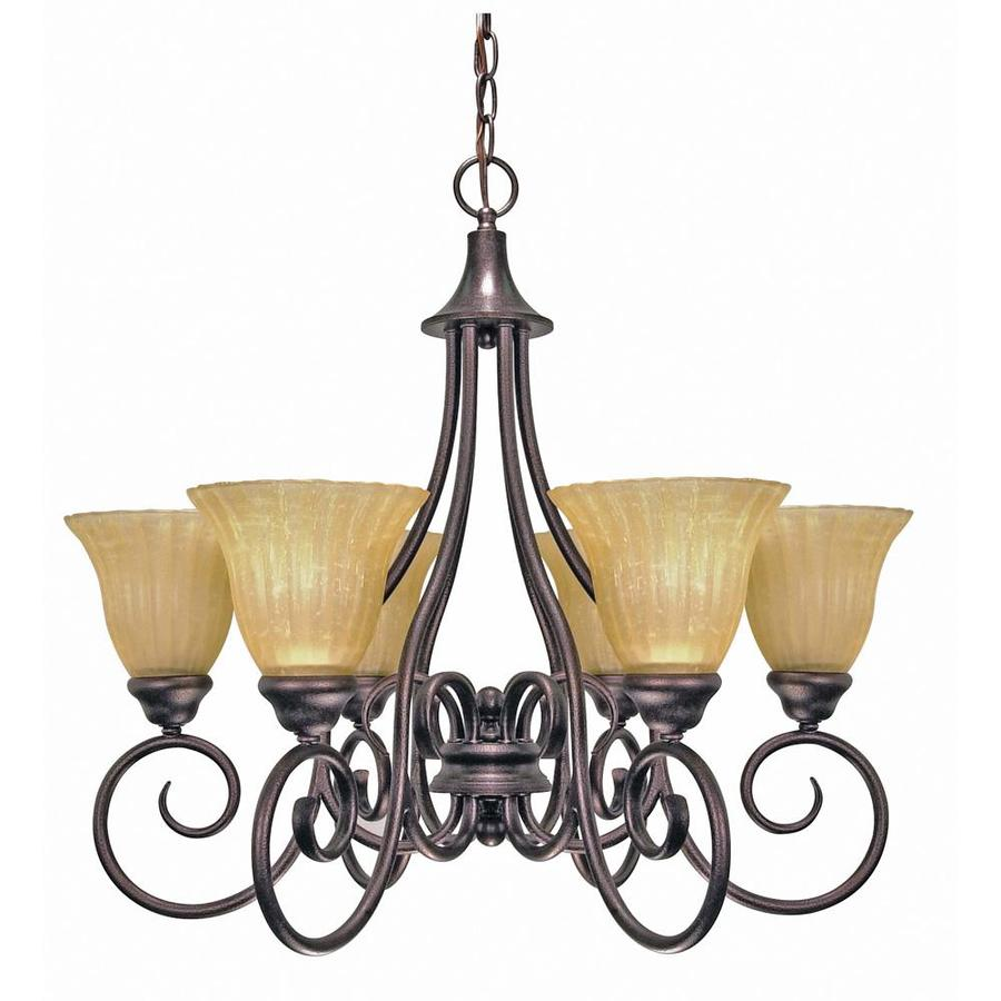 Moulan 25-in 6-Light Copper Bronze Candle Chandelier