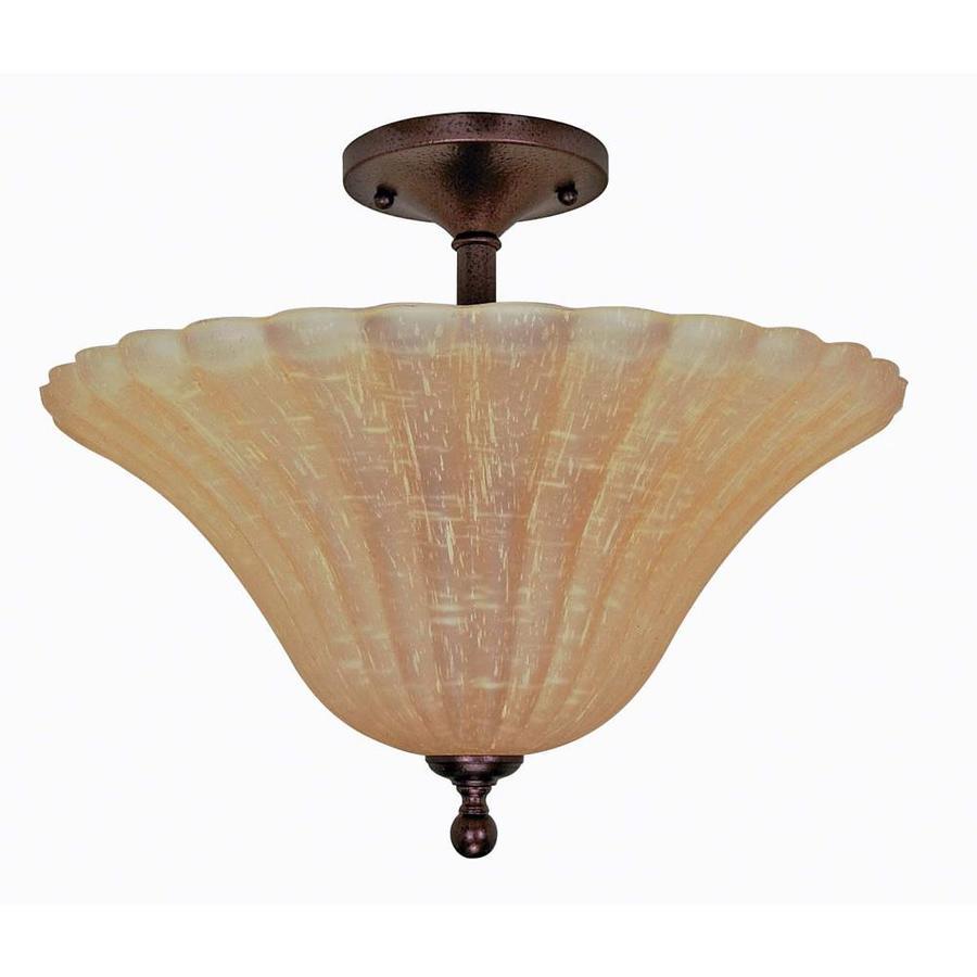 16.91-in W Copper Bronze Tea-Stained Glass Semi-Flush Mount Light