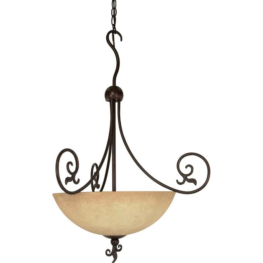 Tapas 17-in Old Bronze Single Tinted Glass Bell Pendant