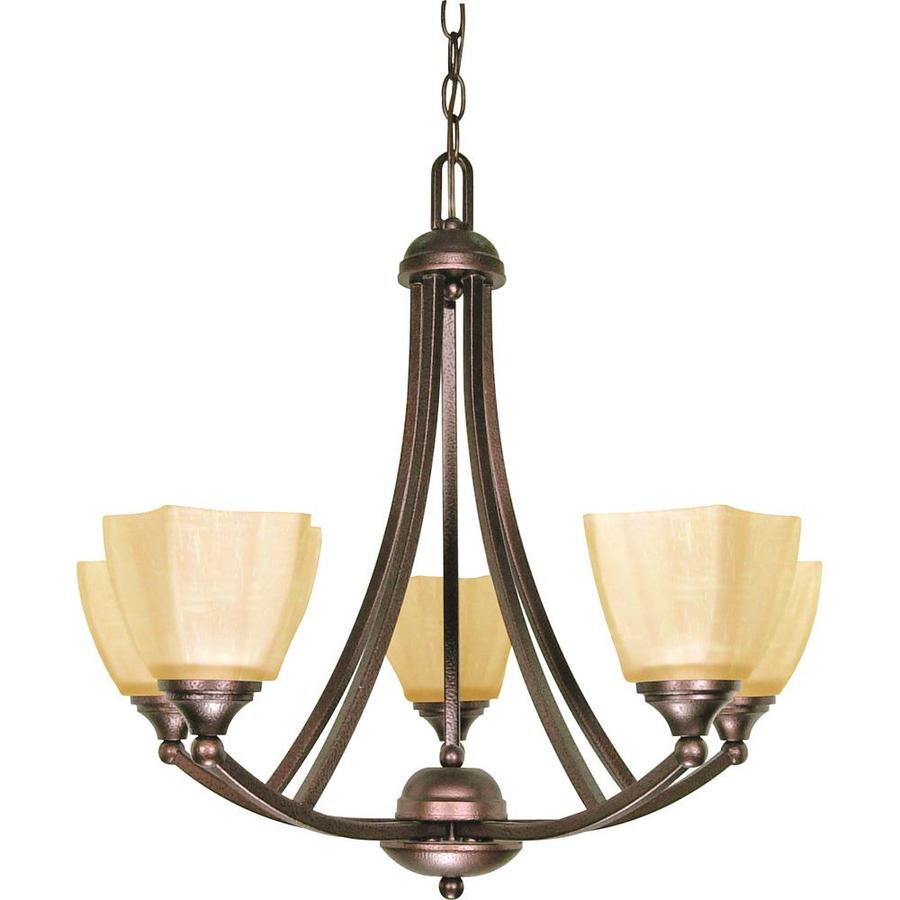Normandy 25-in 5-Light Copper Bronze Candle Chandelier