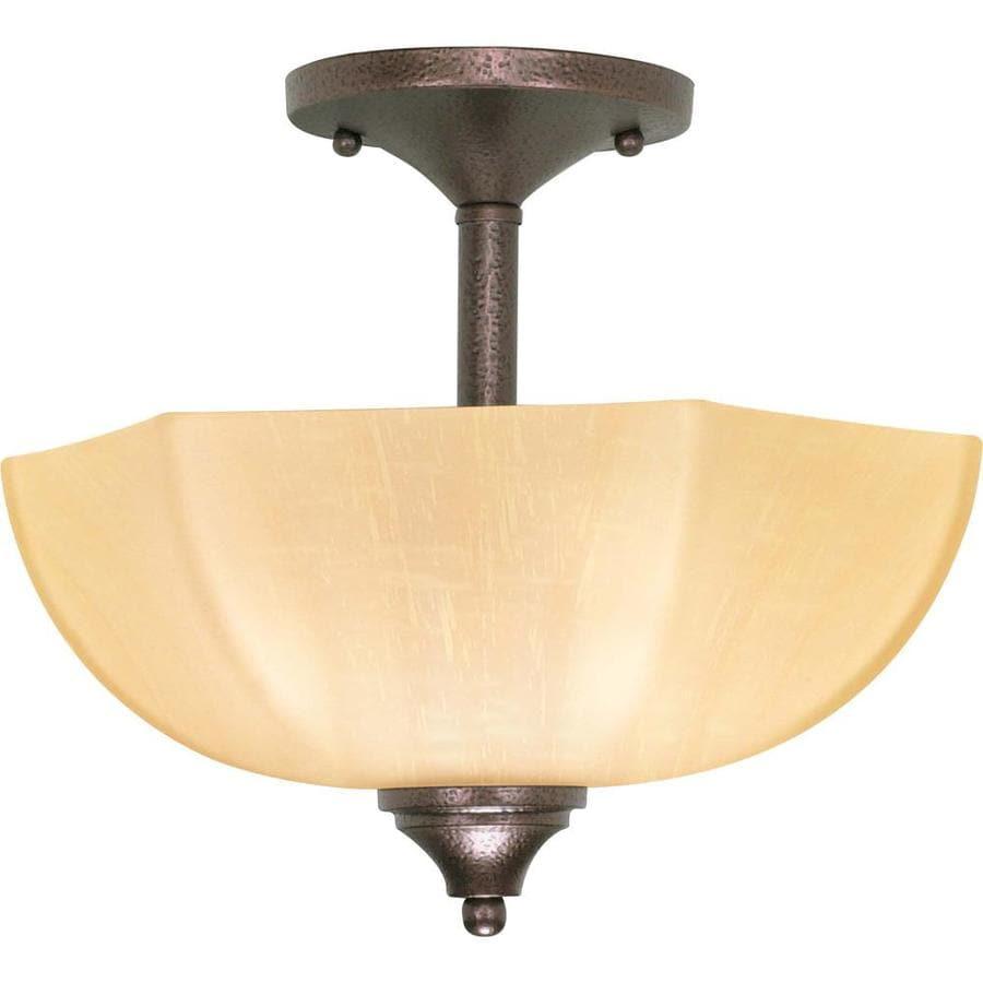 Divina 12.5-in W Copper bronze Tea-stained Glass Semi-Flush Mount Light