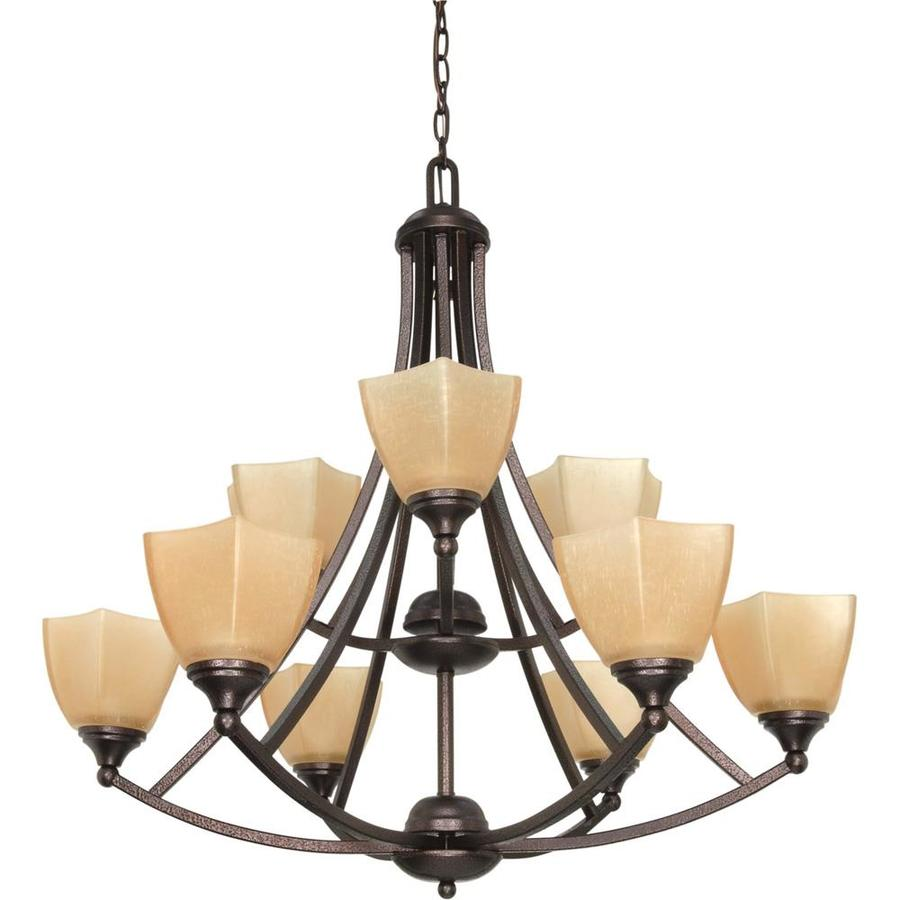 Normandy 32-in 9-Light Copper Bronze Tiered Chandelier