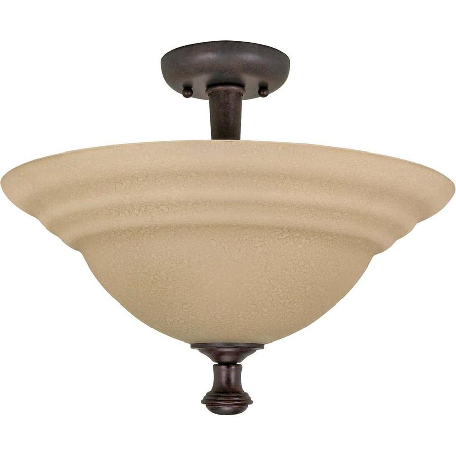 Divina 16.91-in W Old bronze Tea-stained Glass Semi-Flush Mount Light