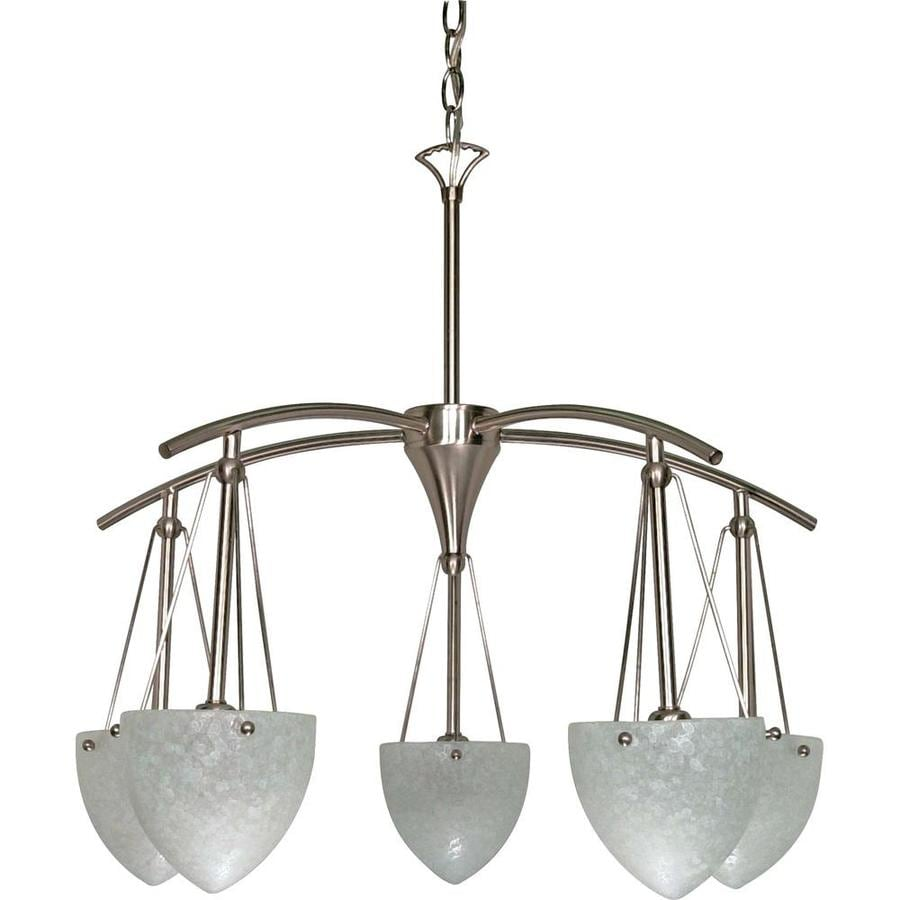 South Beach 25-in 5-Light Brushed nickel Tinted Glass Candle Chandelier