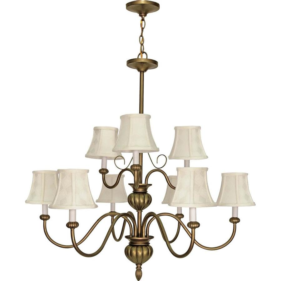 Vanguard 34-in 9-Light Flemish Gold Tinted Glass Tiered Chandelier