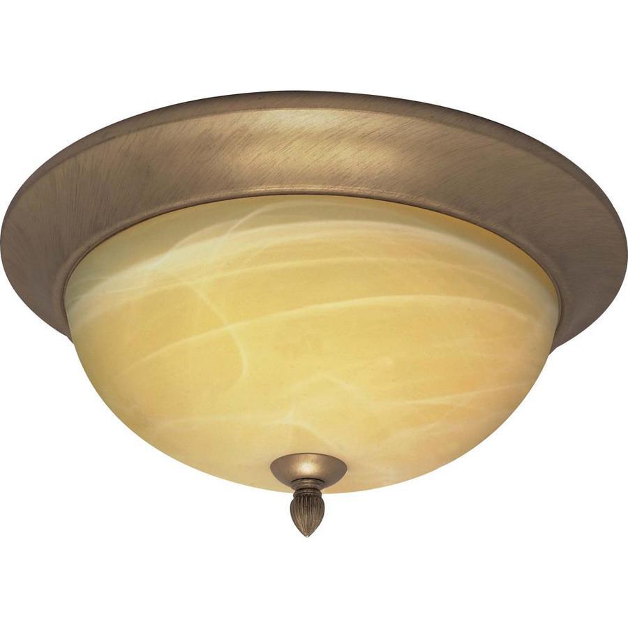 15-in W Flemish Gold Standard Flush Mount Light