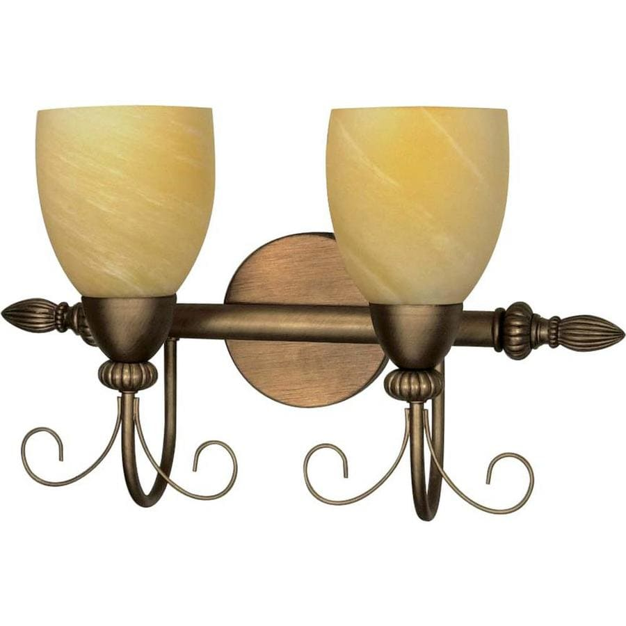 Vanguard 2-Light 12-in Flemish Gold Vanity Light