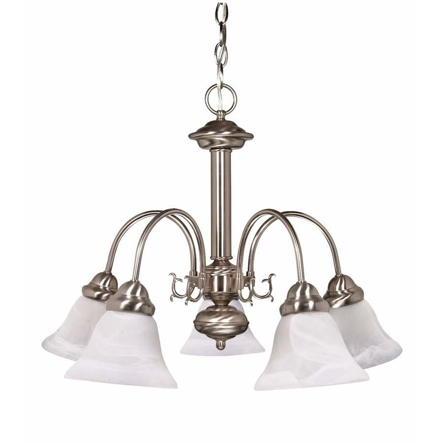 Edith 24-in 5-Light Brushed Nickel Alabaster Glass Candle Chandelier