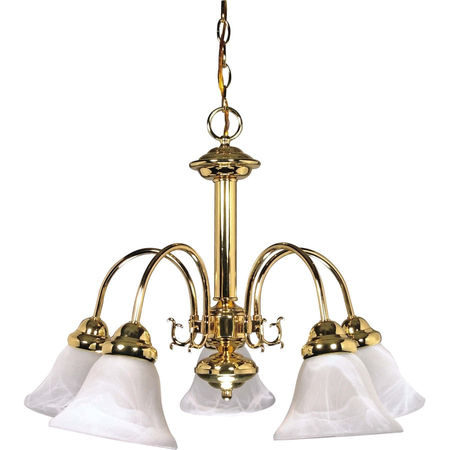 Edith 24-in 5-Light Polished Brass Alabaster Glass Candle Chandelier