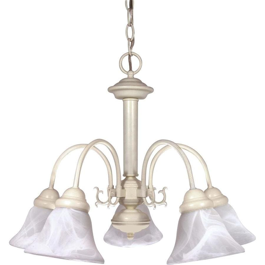 Edith 24-in 5-Light Textured White Alabaster Glass Candle Chandelier