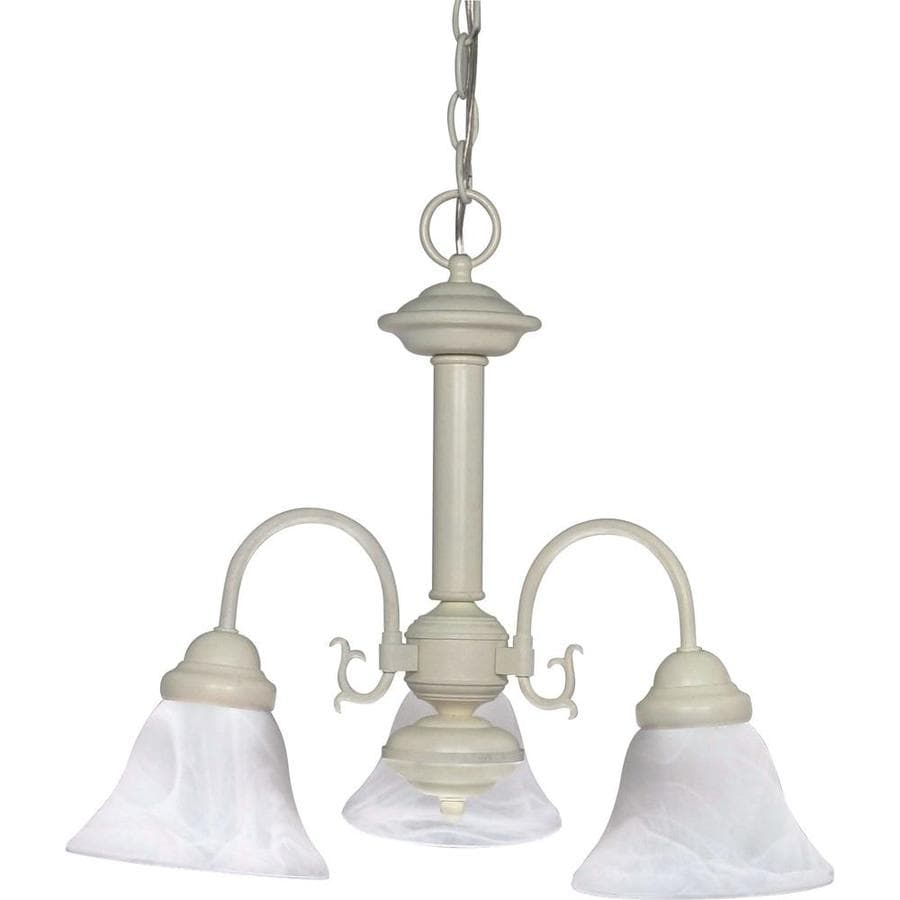 Edith 20-in 3-Light Textured white Alabaster Glass Candle Chandelier
