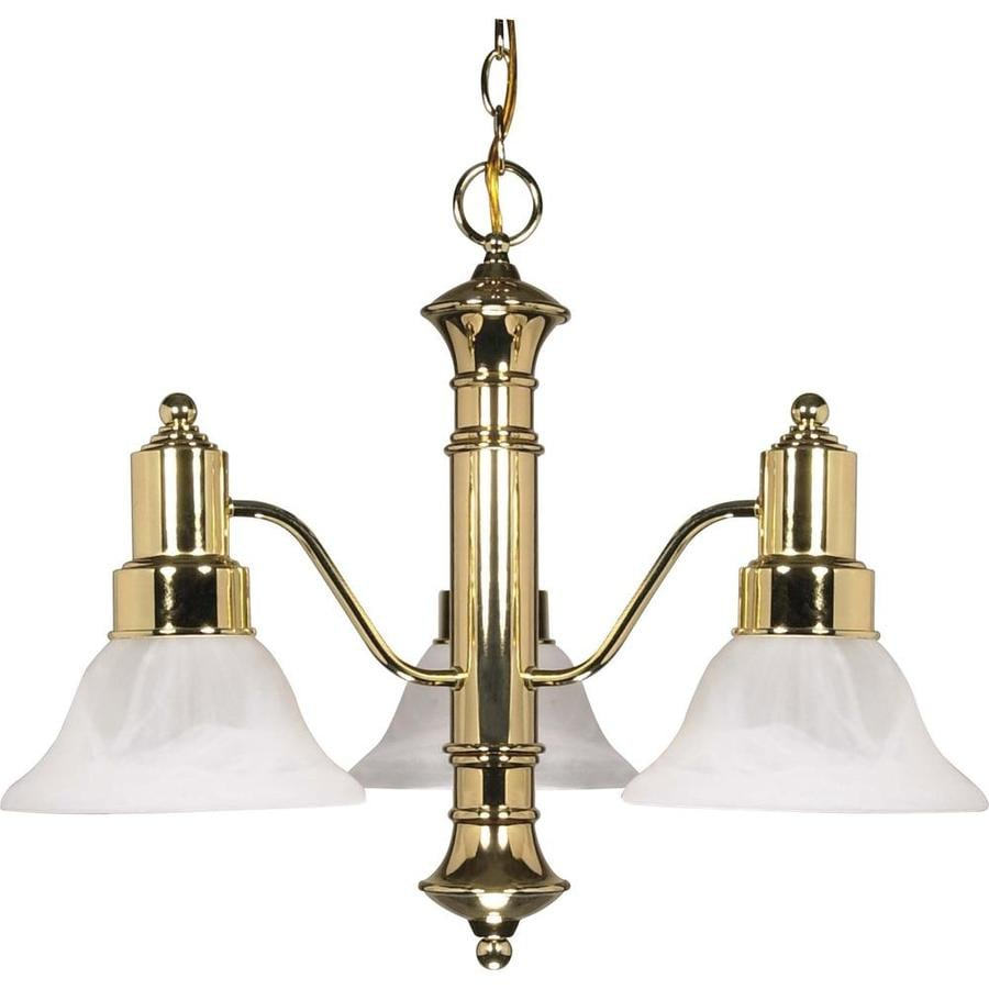 Gotham 22.5-in 3-Light Polished Brass Alabaster Glass Candle Chandelier
