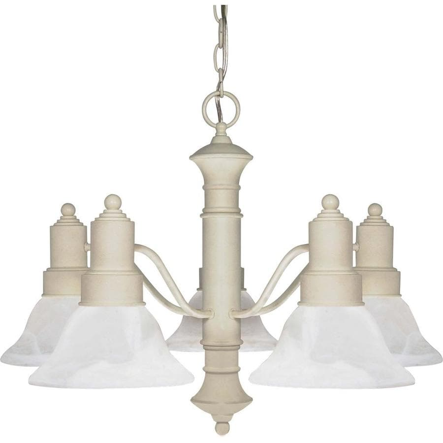 Gotham 24.5-in 5-Light Textured White Alabaster Glass Candle Chandelier