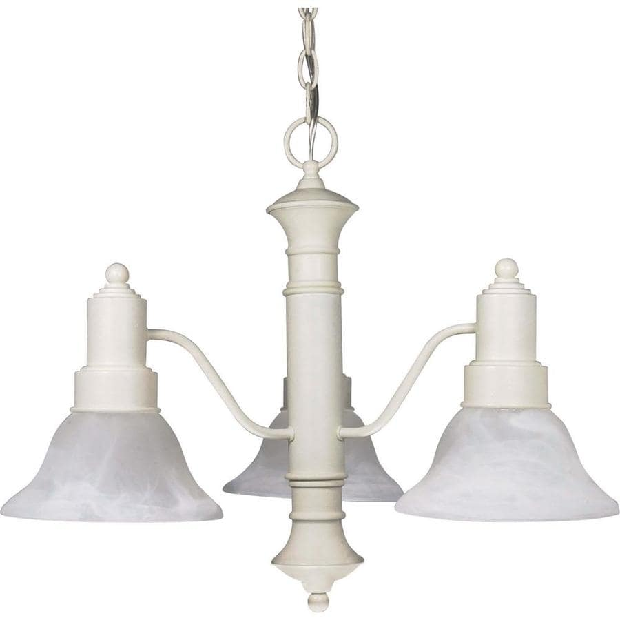 Gotham 22.5-in 3-Light Textured White Alabaster Glass Candle Chandelier