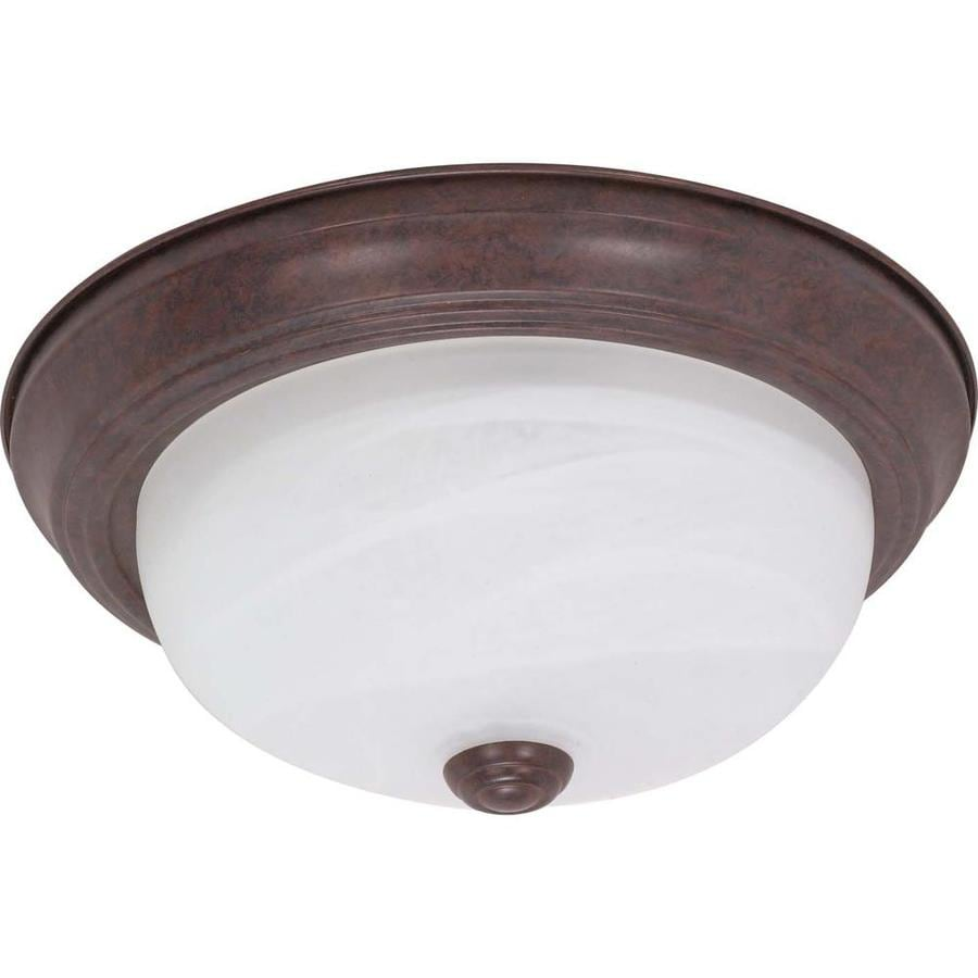 11.37-in W Old Bronze Standard Flush Mount Light