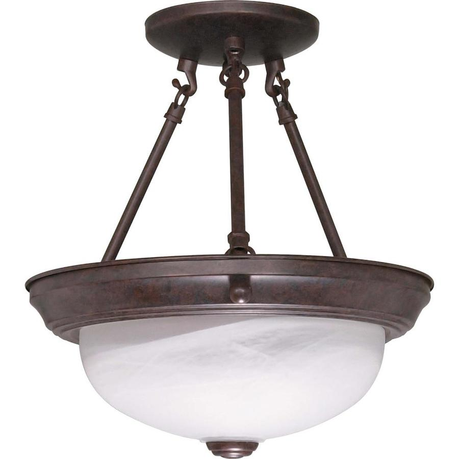 Divina 12-in W Old bronze Frosted Glass Semi-Flush Mount Light