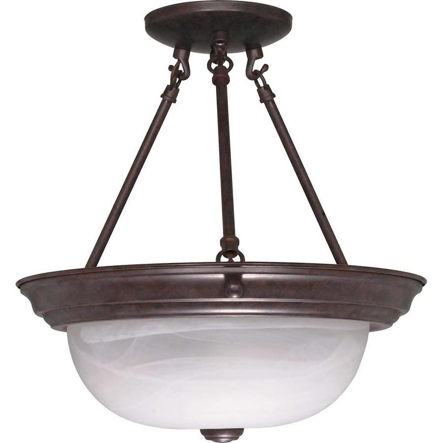 Divina 13.72-in W Old Bronze Frosted Glass Semi-Flush Mount Light