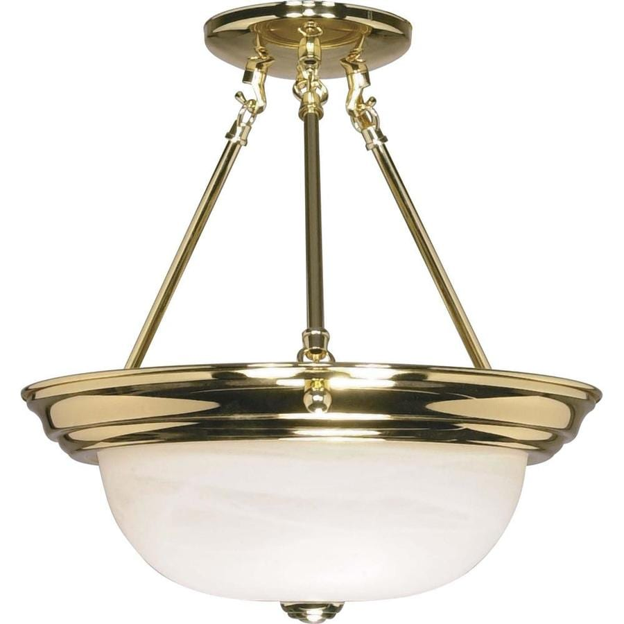 Divina 13.72-in W Polished Brass Frosted Glass Semi-Flush Mount Light