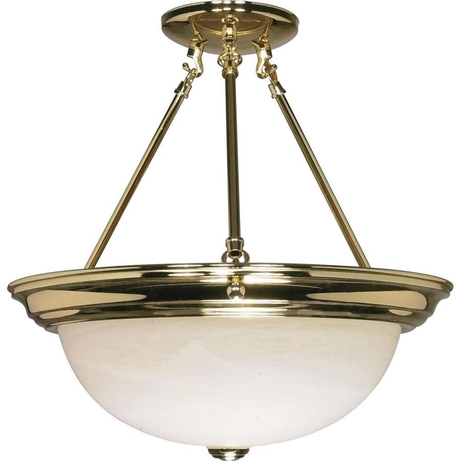 Divina 15.68-in W Polished Brass Frosted Glass Semi-Flush Mount Light