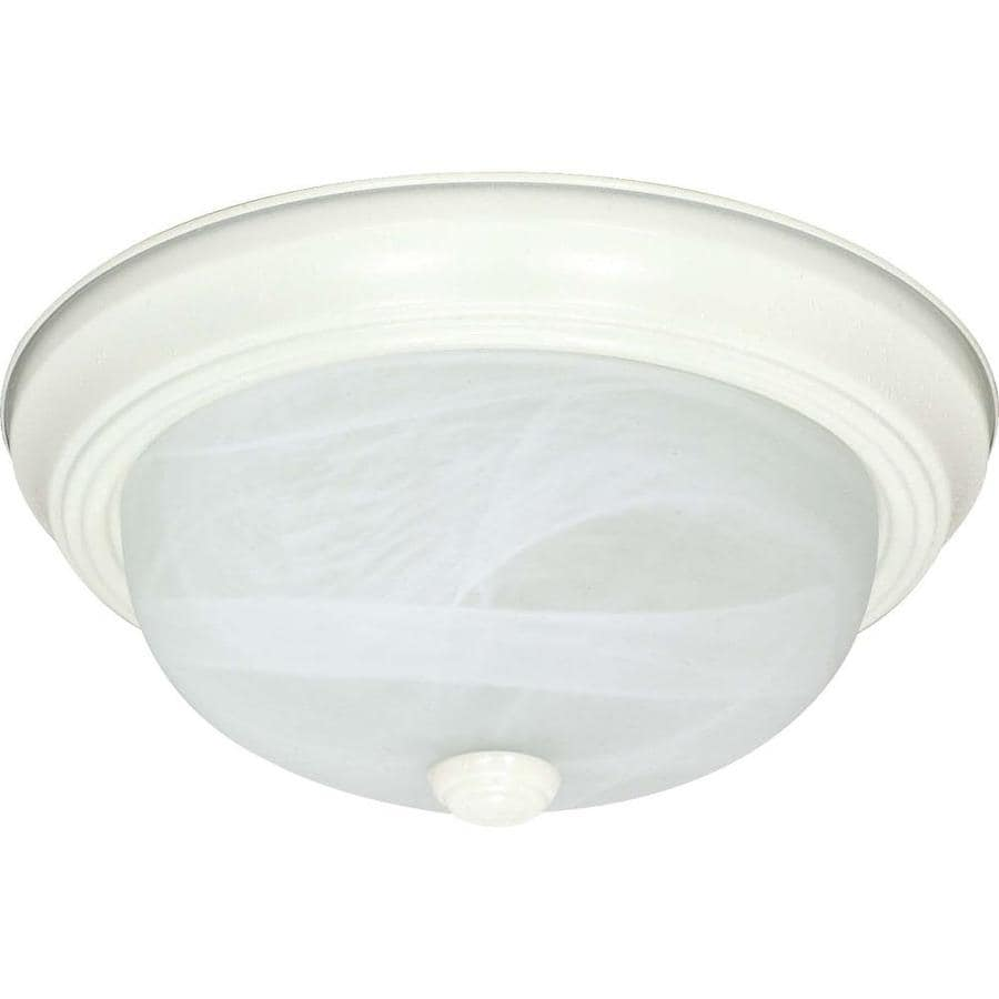 15.25-in W Textured White Standard Flush Mount Light