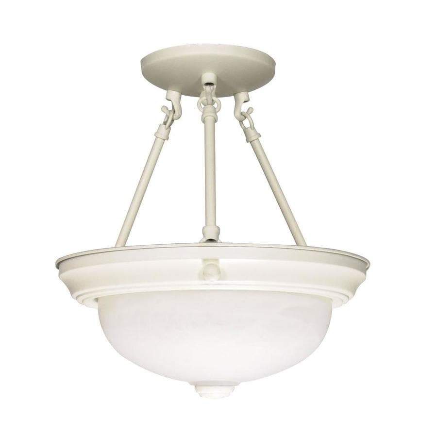 Divina 12-in W Textured White Frosted Glass Semi-Flush Mount Light