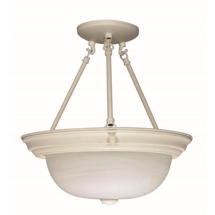 Divina 15.68-in W Textured white Frosted Glass Semi-Flush Mount Light
