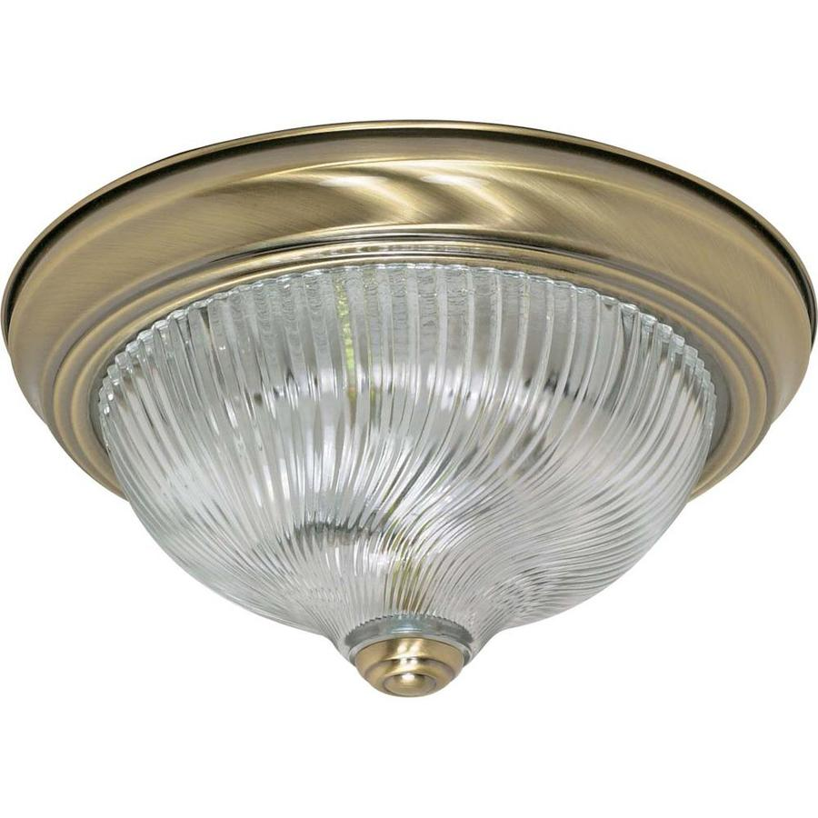 11.37-in W Antique Brass Ceiling Flush Mount Light