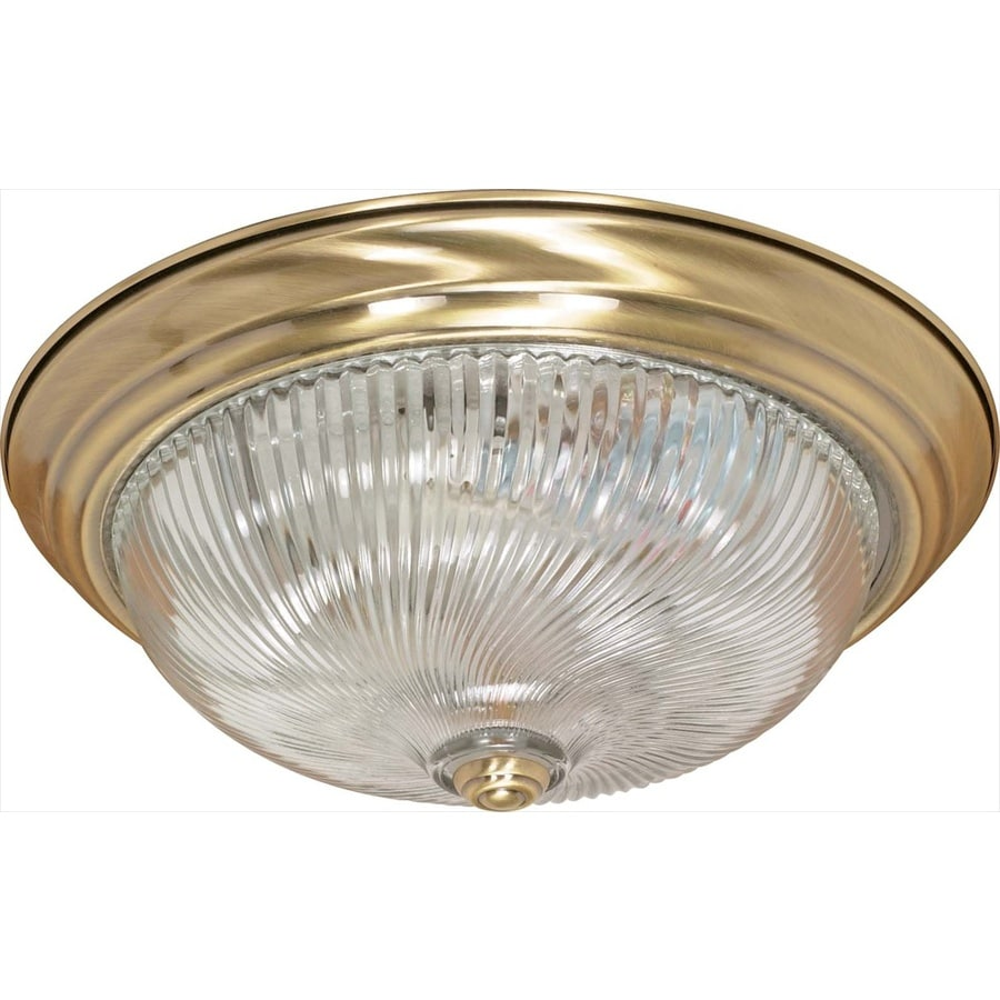 15.25-in W Antique Brass Standard Flush Mount Light