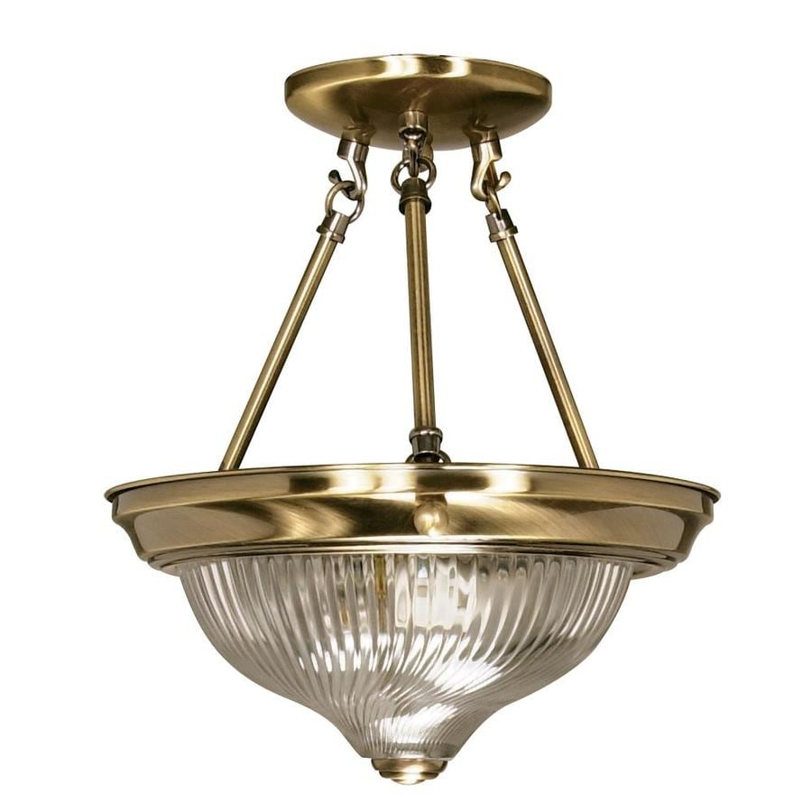 Divina 12-in W Antique Brass Clear Glass Semi-Flush Mount Light