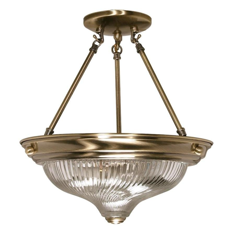 Divina 13.72-in W Antique Brass Clear Glass Semi-Flush Mount Light