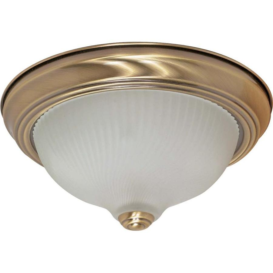 11.37-in W Antique Brass Flush Mount Light