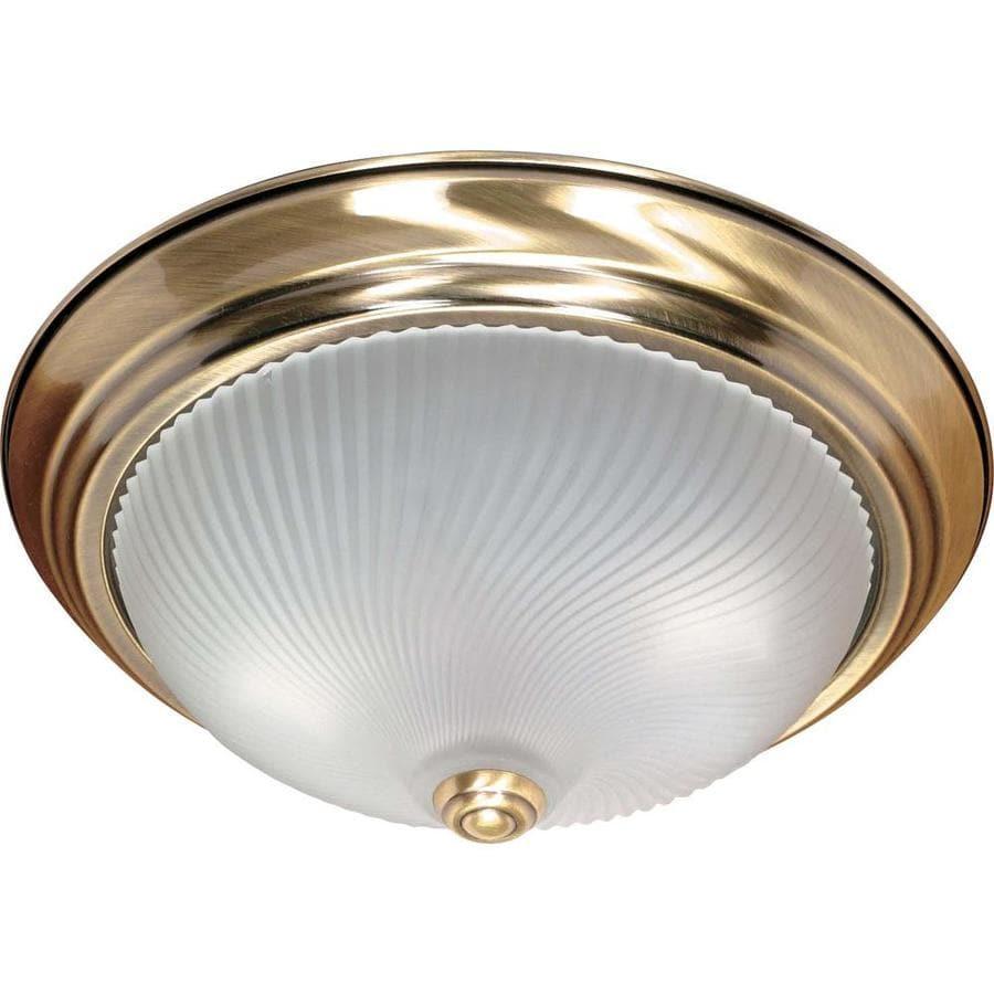 13.12-in W Antique Brass Standard Flush Mount Light