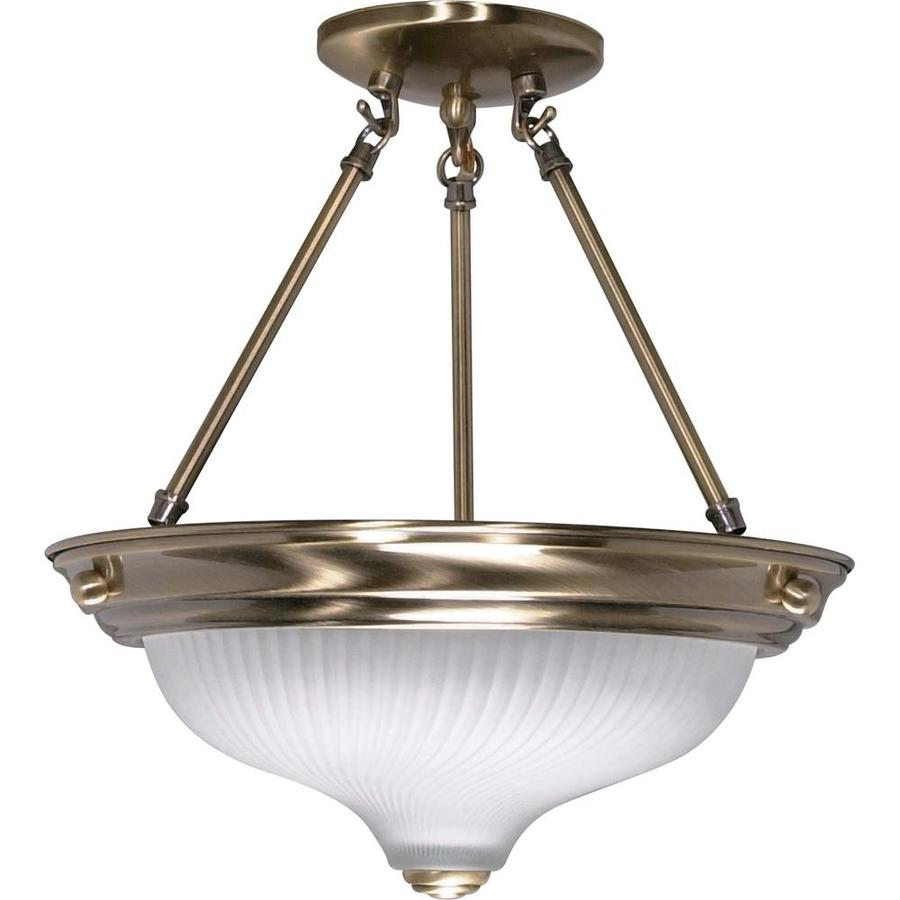 Divina 13.72-in W Antique Brass Frosted Glass Semi-Flush Mount Light