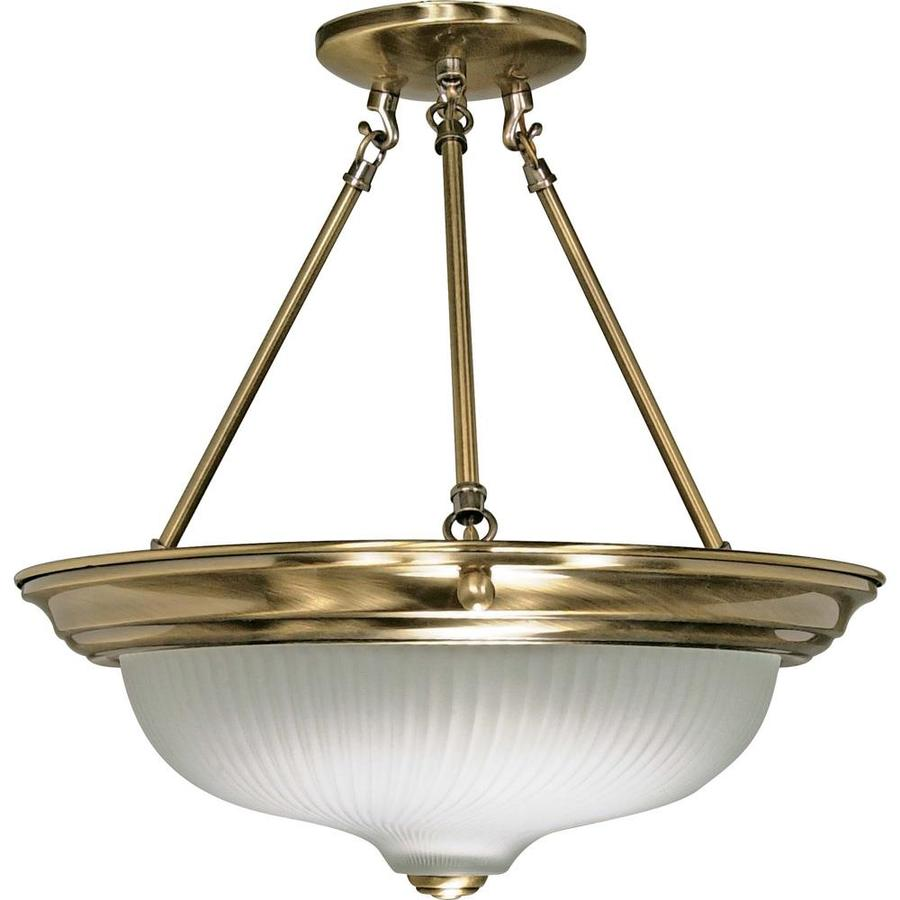 Divina 15.68-in W Antique Brass Frosted Glass Semi-Flush Mount Light