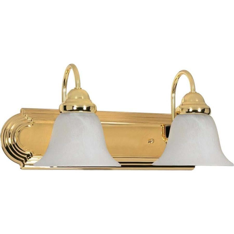 2-Light 7.625-in Polished Brass Vanity Light