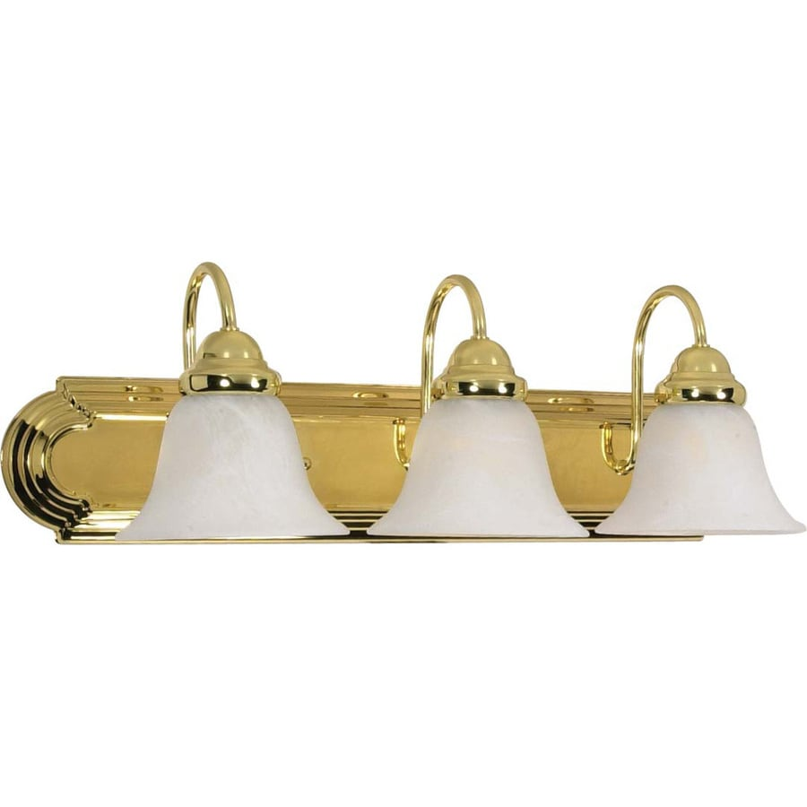 3-Light 7.625-in Polished Brass Vanity Light