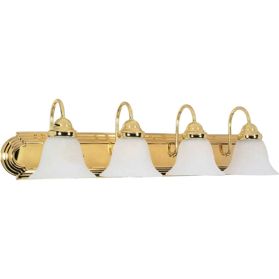 4-Light 7.625-in Polished Brass Vanity Light
