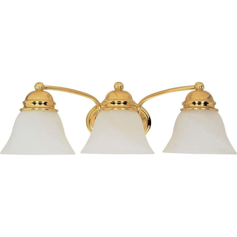 Bathroom Vanity Lights Brass shop 3-light 6.5-in polished brass vanity light at lowes